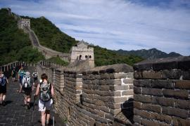 Supporters walking along the Great Wall of China