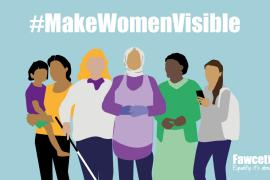 text of different women standing together with the hashtag #makewomenvisible